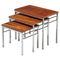 Set of Three Nesting Tables in Chrome and Wood