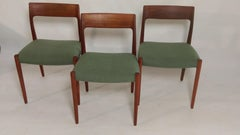 Set of Three Niels Otto Moller model 77 Teak Dining Chairs