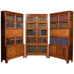 Set of Three Oak Art Deco Sectional Bookcases