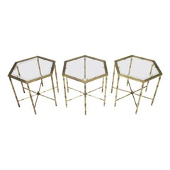 Set of Three Octagonal Side Table in Brass and Glass, 1970s