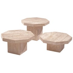 Set of Three Octagonal Travertine Cocktail Tables