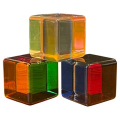 Set of Three Op Art Acrylic Cube Sculptures with Box by Vasa Mihich