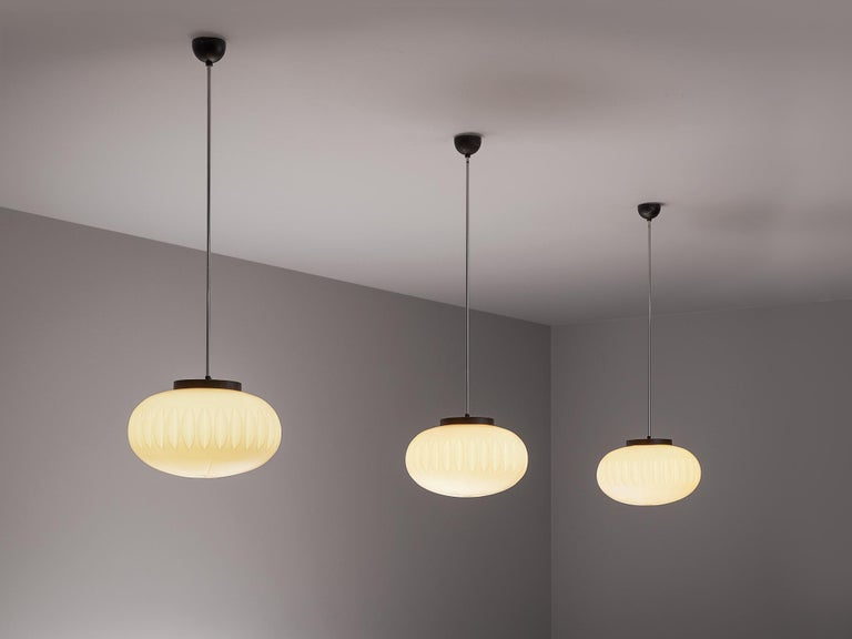 Mid-Century Modern Set of Three Opaline Glass Pendants with Structured Spheres For Sale