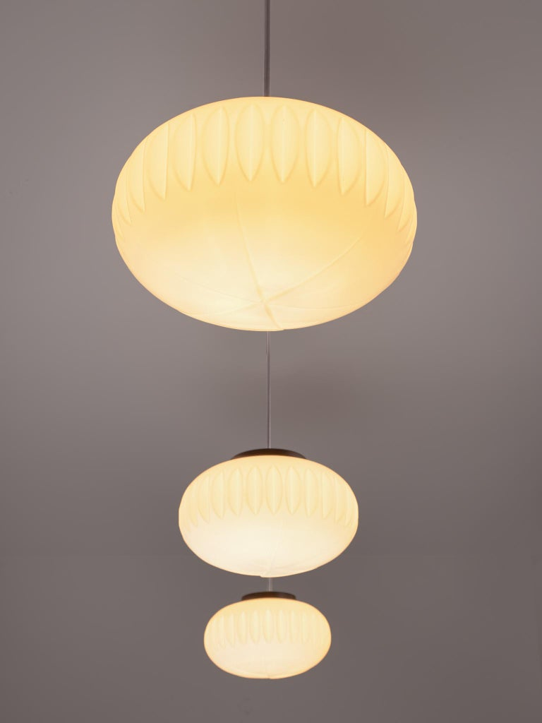 Late 20th Century Set of Three Opaline Glass Pendants with Structured Spheres For Sale