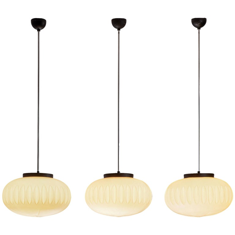 Set of Three Opaline Glass Pendants with Structured Spheres For Sale