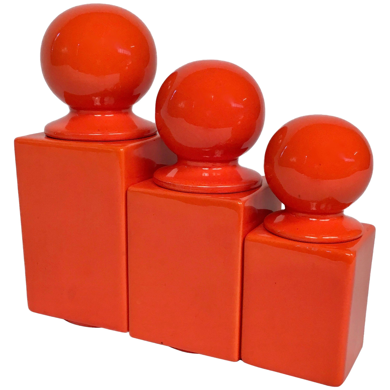 Set of Three Orange Glazed Ceramic Boxes by Pino Spagnolo for Sicart, Italy