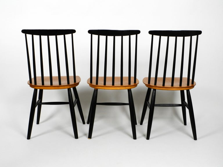 German Set of Three Original Midcentury Wood Spindle Back Chairs with Teak Seat For Sale