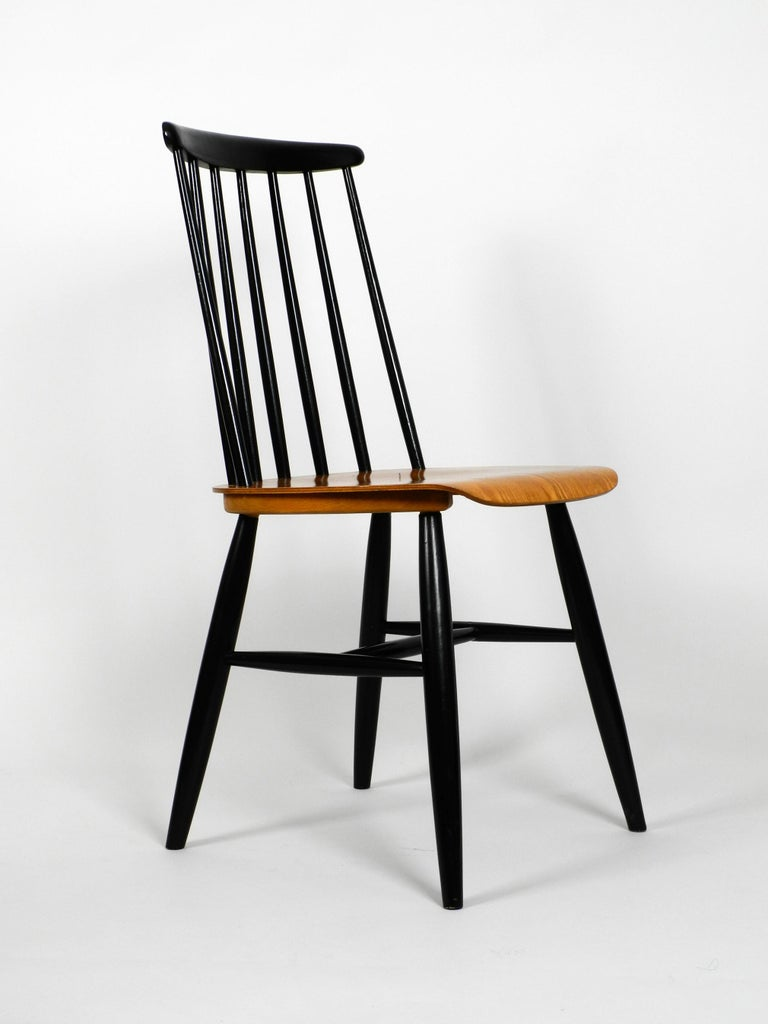 Mid-20th Century Set of Three Original Midcentury Wood Spindle Back Chairs with Teak Seat For Sale