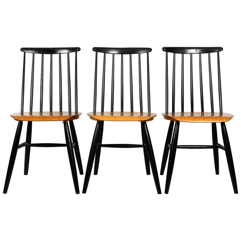 Set of Three Original Midcentury Wood Spindle Back Chairs with Teak Seat For Sale