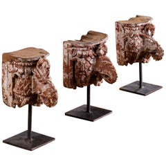 Set of Three Painted Bird Head Decorative Sculptures on Stands, circa 1890