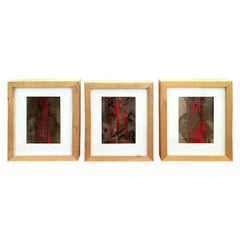 Set of Three Paintings on Paper by Daniela Wicki