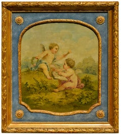Set of Three Paintings for Aubusson Tapestry with Putti