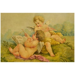 "Set of Three Paintings ""Putti, Musical and Scientist Instruments"" for Aubusson"