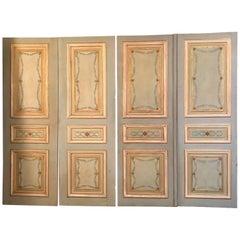 Set of Three Pairs of 19th Century Italian Painted Doors
