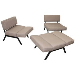 Set of Three 'Panchetto' Reclining Chairs or Pouf by Rito Valla for IPE