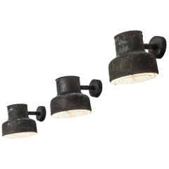 Set of Three Patinated 'Bumling' Wall Lights by Ateljé Lyktan