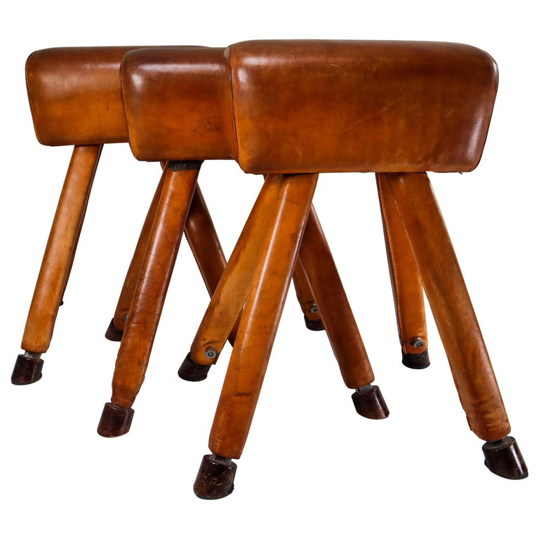 Set of Three Patinated Cognac Leather Covered Beechwood Gym Horses, 1950s For Sale