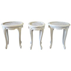 Set of Three Petite French Tables with Marble Tops