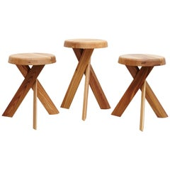 Set of Three Pierre Chapo Solid Elm Wood Stools S31A & S31B