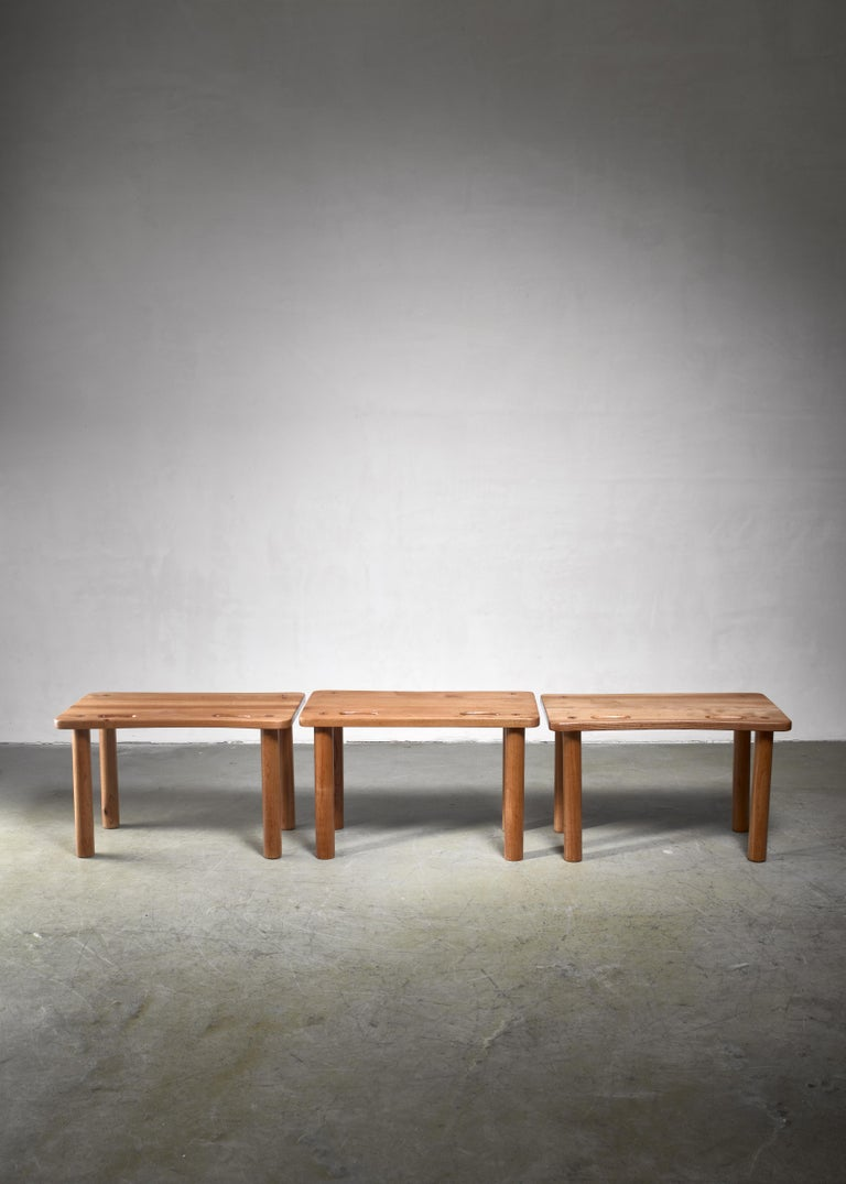 European Set of Three Pine Benches or Side Tables in Campaign Style For Sale