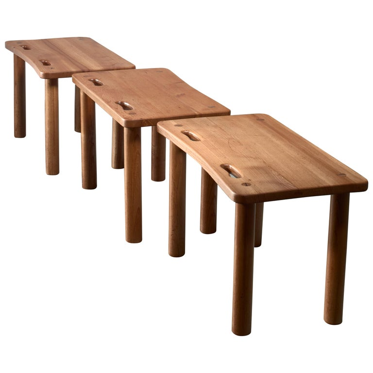 Set of Three Pine Benches or Side Tables in Campaign Style For Sale
