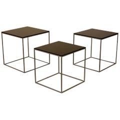 Set of Three PK 71 Nesting Tables with Steel Frame and Acrylic Top