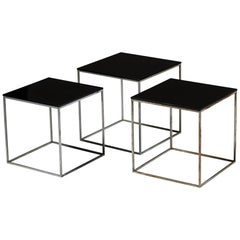 Set of Three PK71 Nesting Tables Designed by Poul Kjaerholm, Denmark, 1957