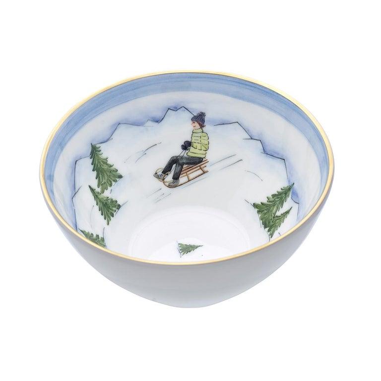 Country Set of Three Porcelain Bowls Winter Decor Sofina Boutique Kitzbuehel For Sale