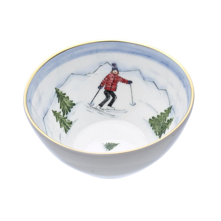 German Set of Three Porcelain Bowls Winter Decor Sofina Boutique Kitzbuehel For Sale