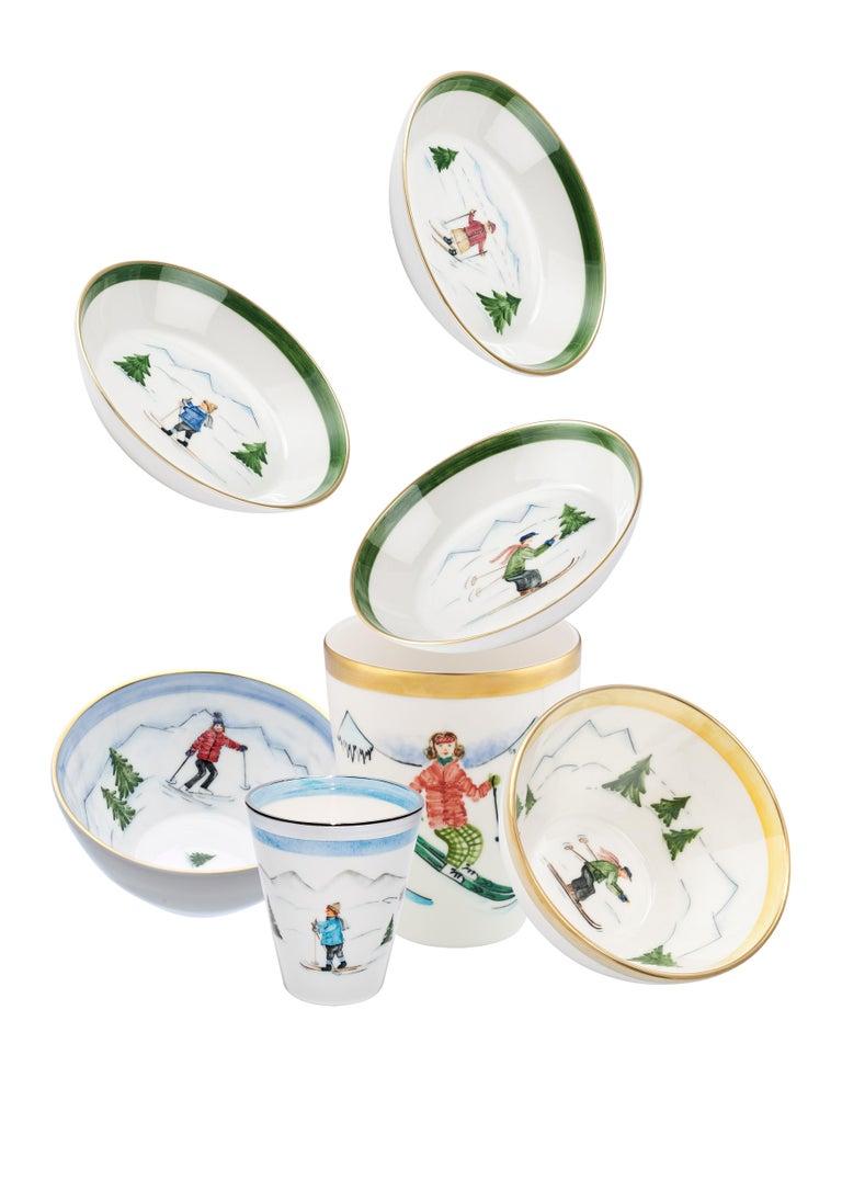 Hand-Painted Set of Three Porcelain Bowls Winter Decor Sofina Boutique Kitzbuehel For Sale