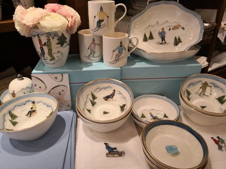 Set of Three Porcelain Bowls Winter Decor Sofina Boutique Kitzbuehel For Sale 1