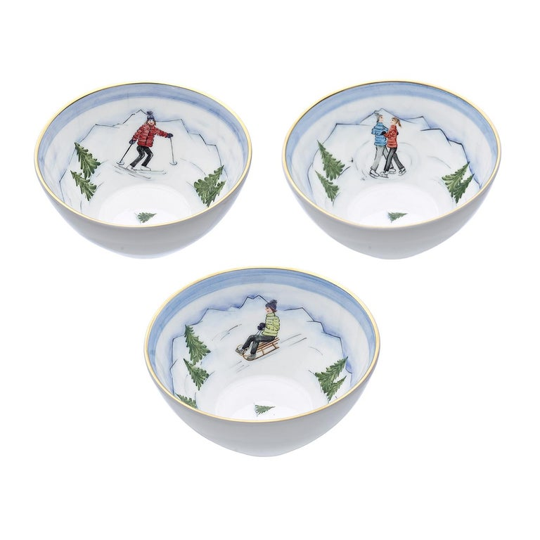Set of Three Porcelain Bowls Winter Decor Sofina Boutique Kitzbuehel For Sale