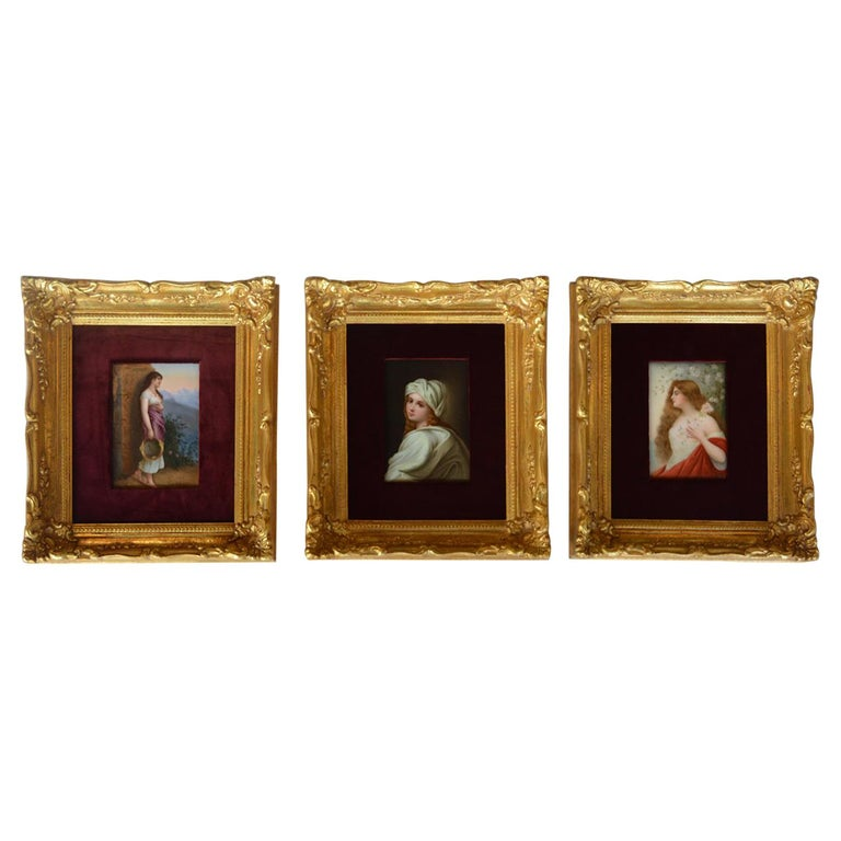Set of Three Porcelain Plaques Germany KPM circa 1900s For Sale