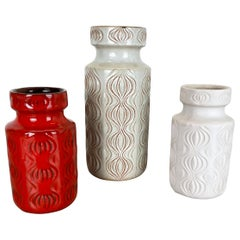 "Set of Three Pottery Fat Lava Vases 285 ""Onion"" by Scheurich, Germany, 1970s"