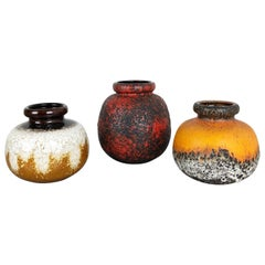 "Set of Three Pottery Fat Lava Vases ""Multi-Color"" by Scheurich, Germany, 1970s"