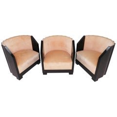 "Set of Three ""Pozzetto"" Art Deco Lounge Chairs, circa 1920s"