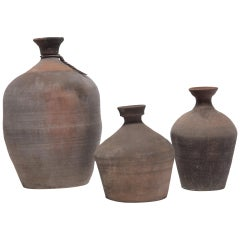 Set of Three Provincial Chinese Wine Jugs, circa 1900