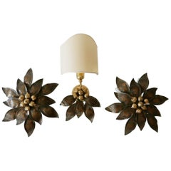 Set of Three Rare Bronze Patinated Brass Wall and Ceiling Lamps, 1970s, Germany