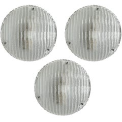 Set of Three Rare Round Geometric Glass Ceiling Wall Flush Mounts Sconces, 1960s