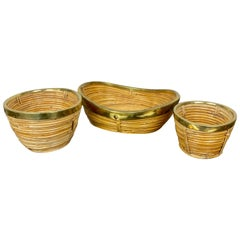 Set of Three Rattan and Brass Basket Bowls, Italy, 1970s