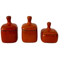 Set of Three Red Ceramic Boxes by Ruelland