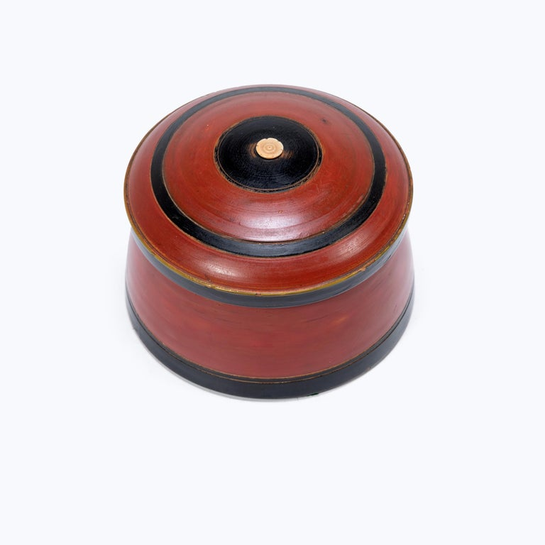 Southeast Asian Set of Three Red Lacquer Betel Boxes For Sale
