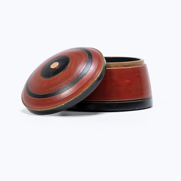 Lacquered Set of Three Red Lacquer Betel Boxes For Sale