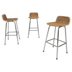 Set of Three Rohe Noordwolde Rattan and Metal Bar Stools, the Netherlands 1950's
