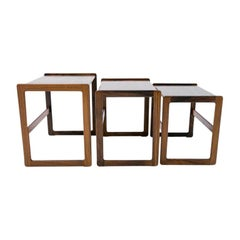 Set of Three Rosewood Cube Nesting Tables, Scandinavian Modern, 1970s