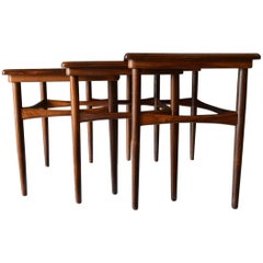 Set of Three Rosewood Nesting Tables by Poul Hundevad, circa 1960