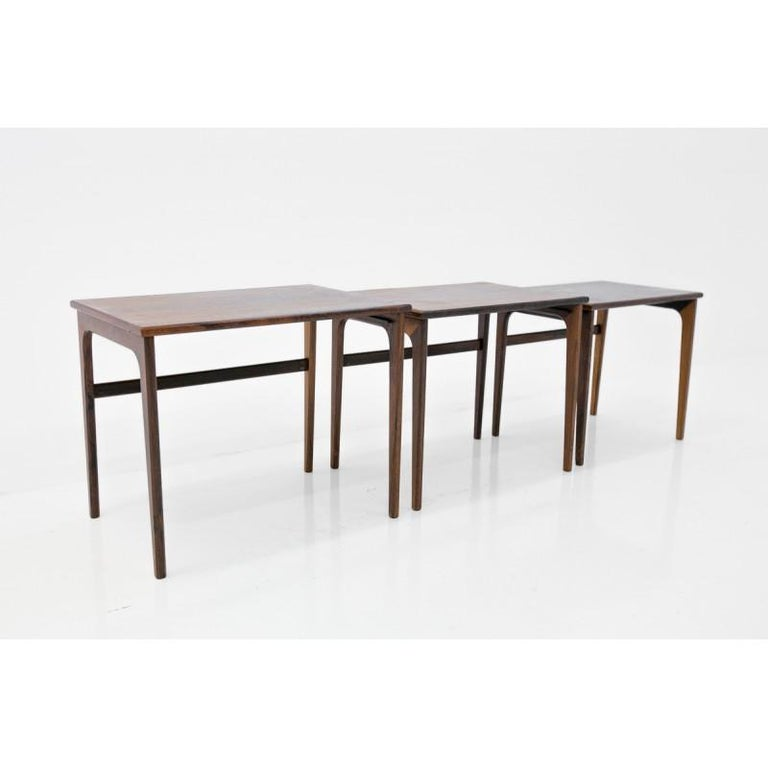 Danish Set of Three Rosewood Nesting Tables, Scandinavian Modern, 1970s For Sale