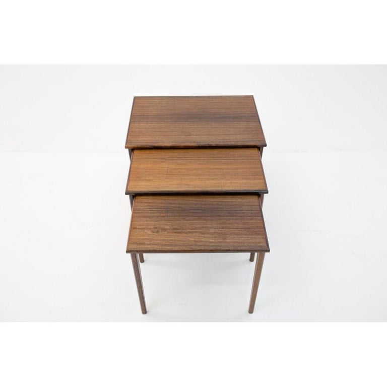 Late 20th Century Set of Three Rosewood Nesting Tables, Scandinavian Modern, 1970s For Sale