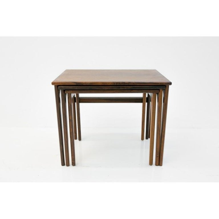 Set of Three Rosewood Nesting Tables, Scandinavian Modern, 1970s For Sale 1