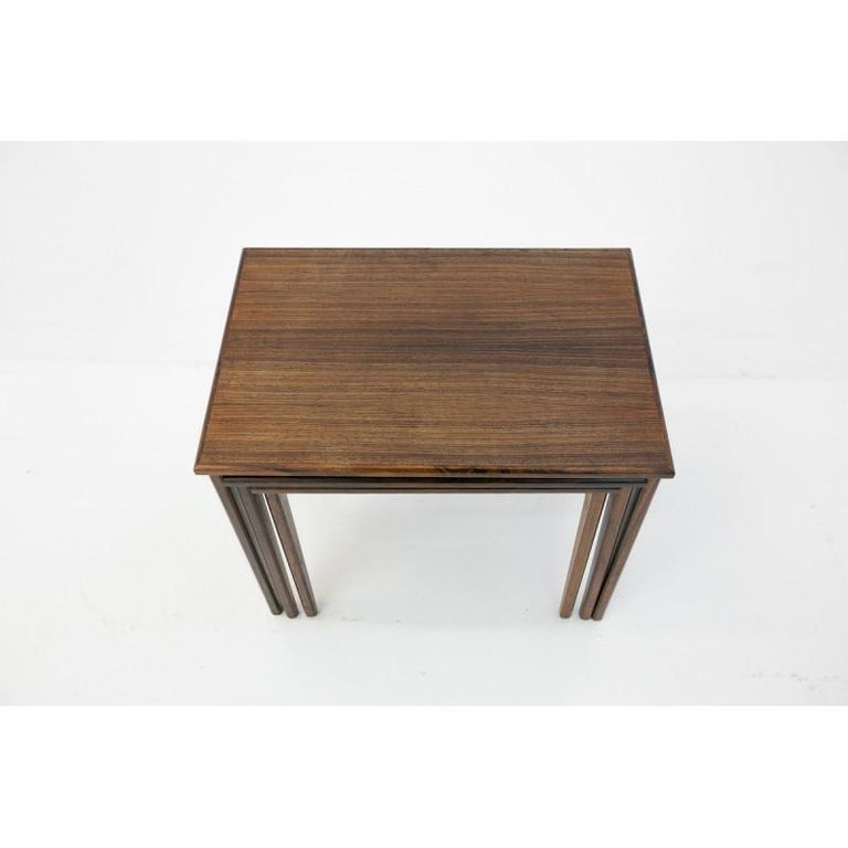 Set of Three Rosewood Nesting Tables, Scandinavian Modern, 1970s For Sale 2